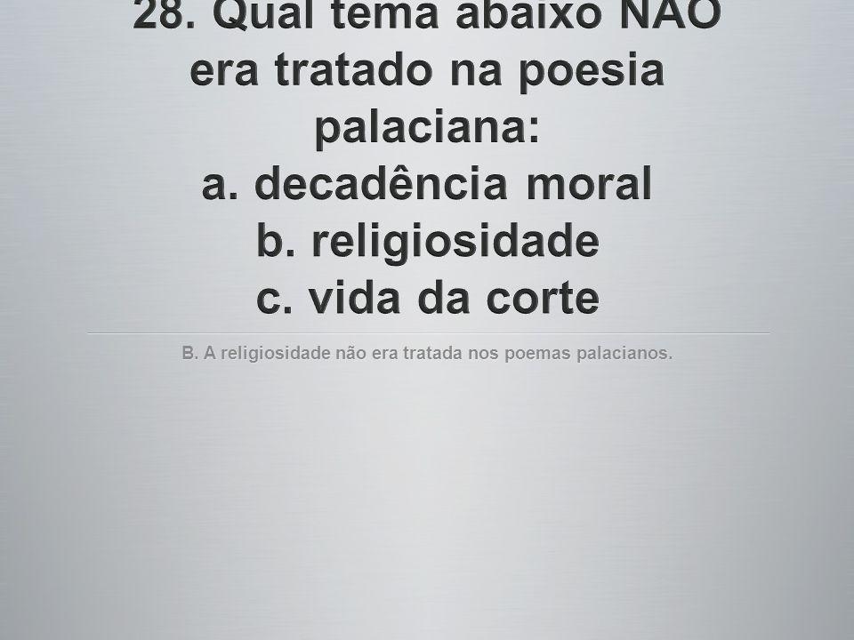 B. A religiosidade não era tratada nos poemas palacianos.