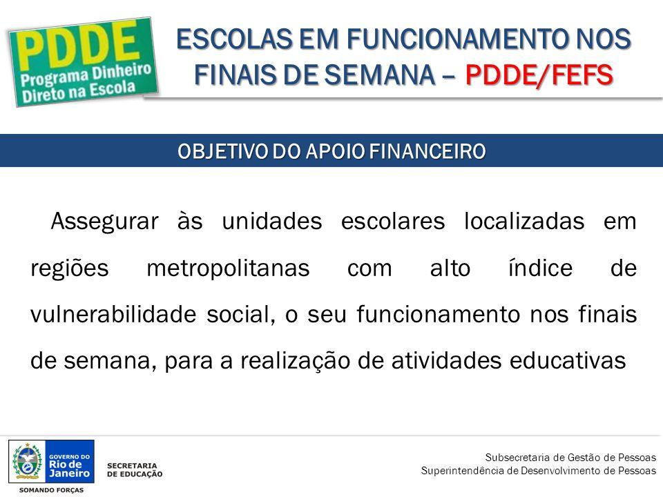 ESCOLAS EM FUNCIONAMENTO NOS FINAIS DE SEMANA – PDDE/FEFS