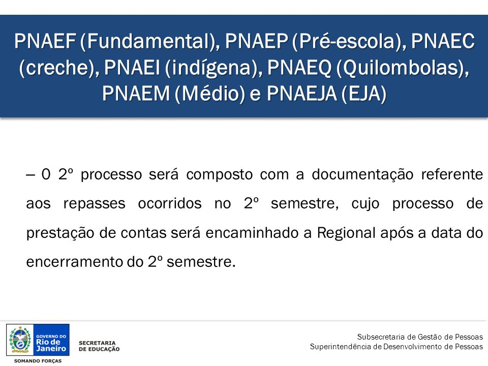 PNAEF (Fundamental), PNAEP (Pré-escola), PNAEC (creche), PNAEI (indígena), PNAEQ (Quilombolas), PNAEM (Médio) e PNAEJA (EJA)