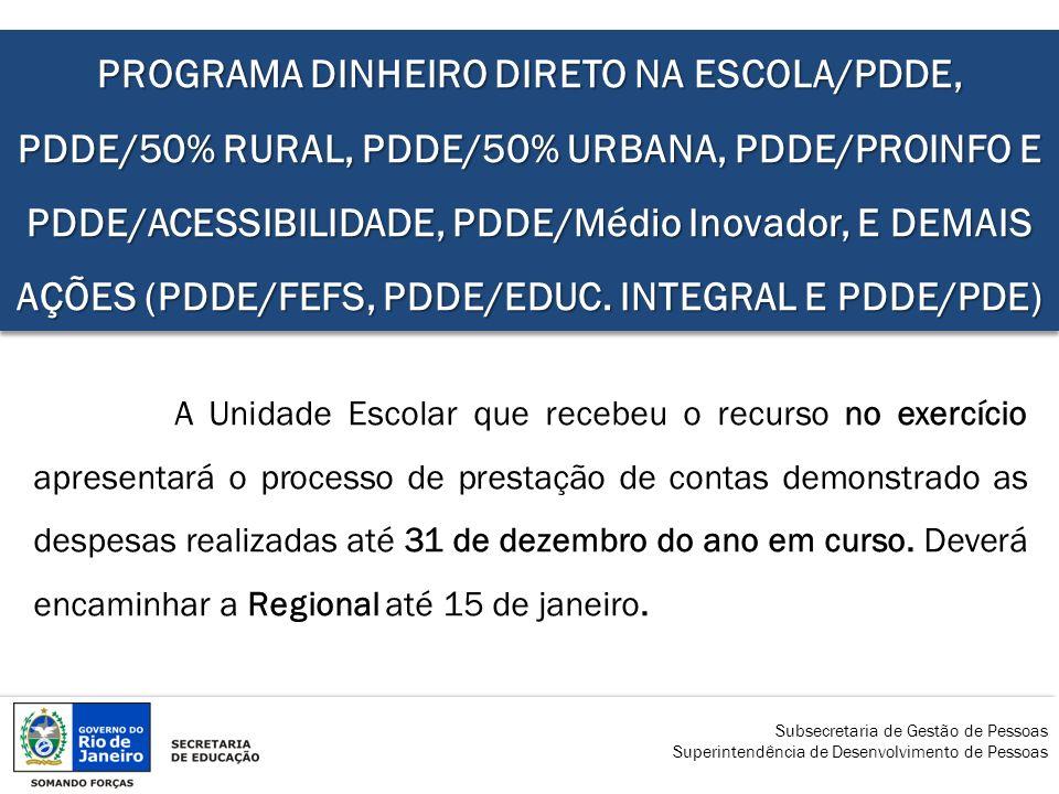 PROGRAMA DINHEIRO DIRETO NA ESCOLA/PDDE, PDDE/50% RURAL, PDDE/50% URBANA, PDDE/PROINFO E PDDE/ACESSIBILIDADE, PDDE/Médio Inovador, E DEMAIS AÇÕES (PDDE/FEFS, PDDE/EDUC. INTEGRAL E PDDE/PDE)