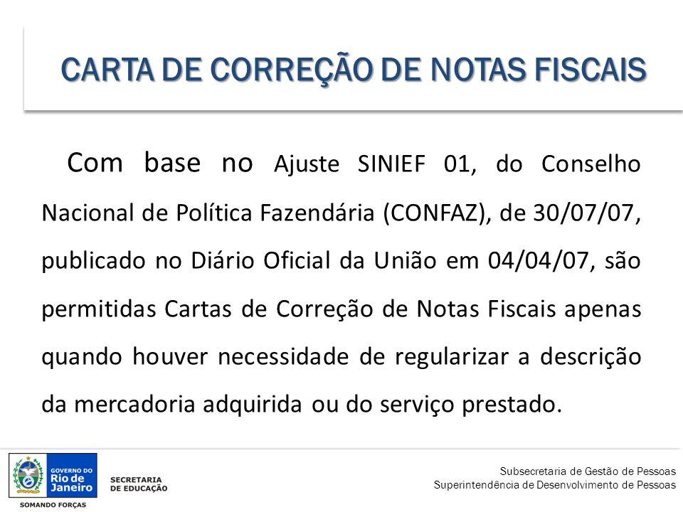 CARTA DE CORREÇÃO DE NOTAS FISCAIS