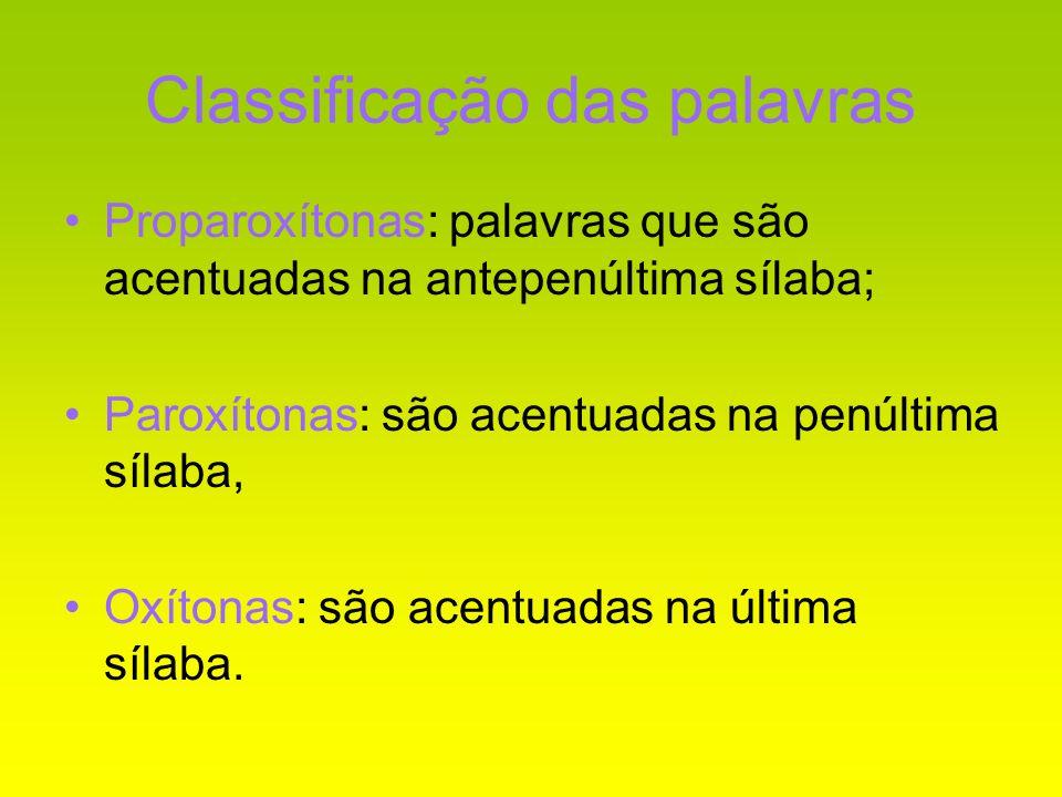 Classificação das palavras