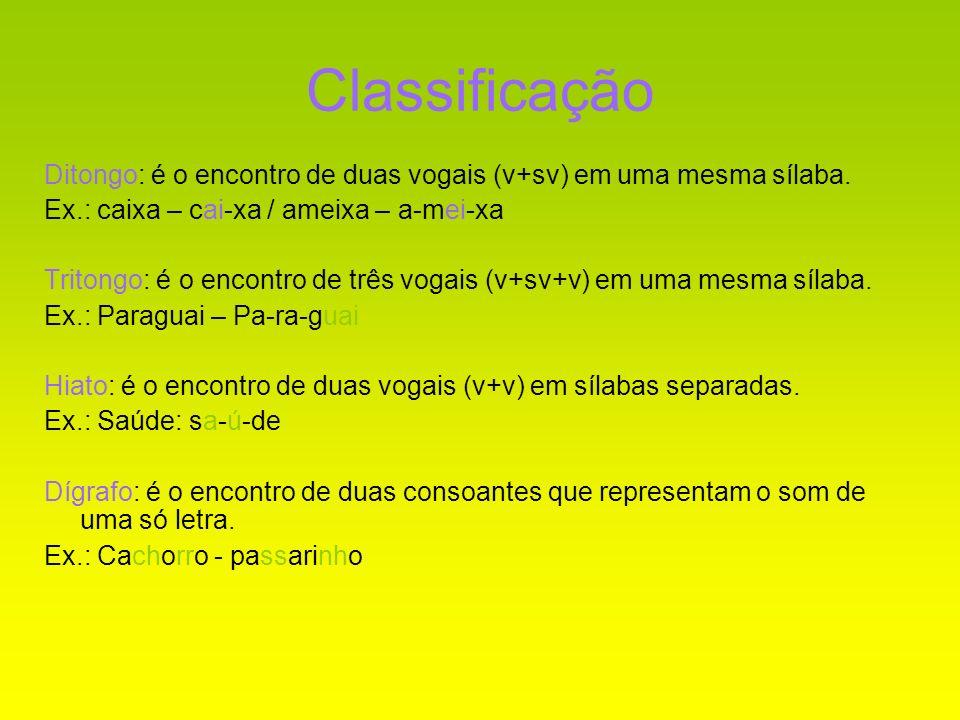 Classificação Ditongo: é o encontro de duas vogais (v+sv) em uma mesma sílaba. Ex.: caixa – cai-xa / ameixa – a-mei-xa.
