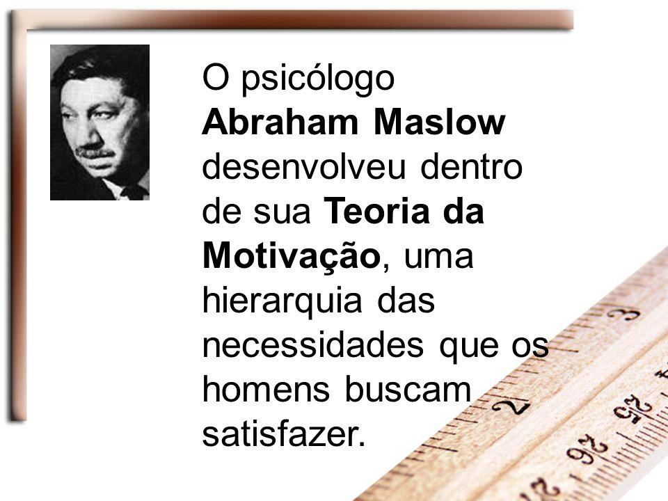 O psicólogo Abraham Maslow desenvolveu dentro de sua Teoria da Motivação, uma hierarquia das necessidades que os homens buscam satisfazer.
