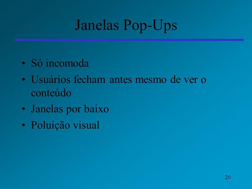 Janelas Pop-Ups Só incomoda