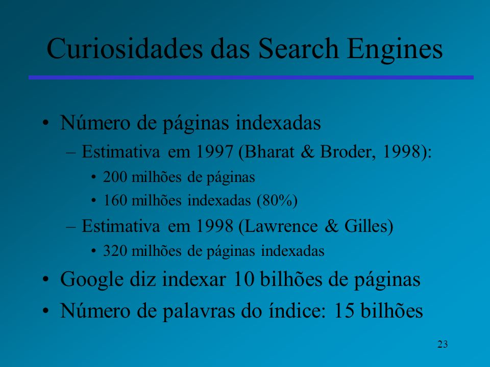 Curiosidades das Search Engines