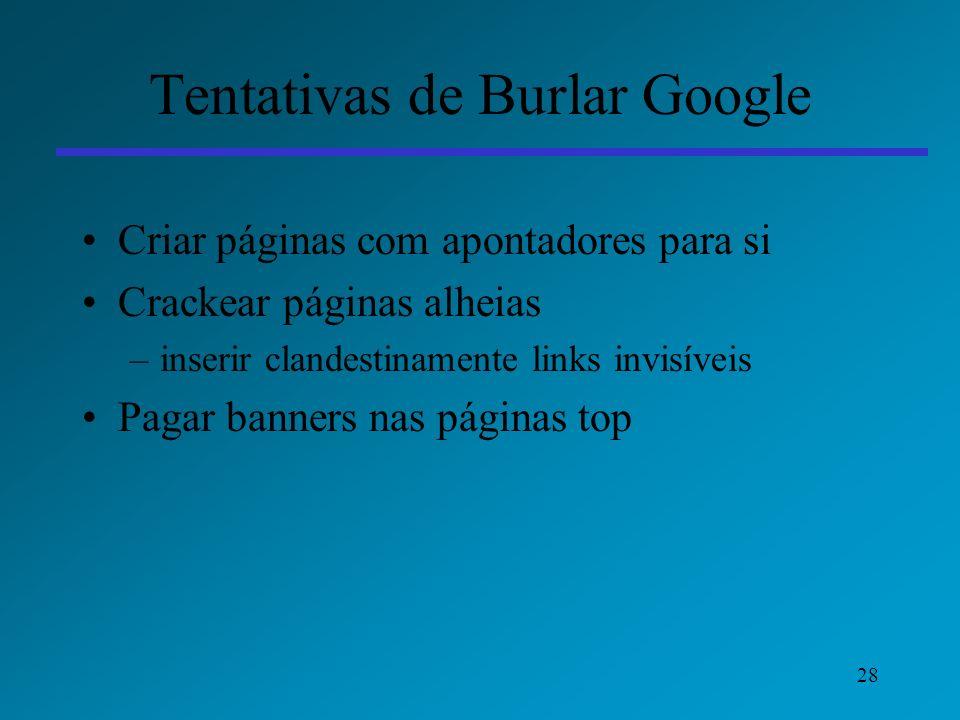 Tentativas de Burlar Google