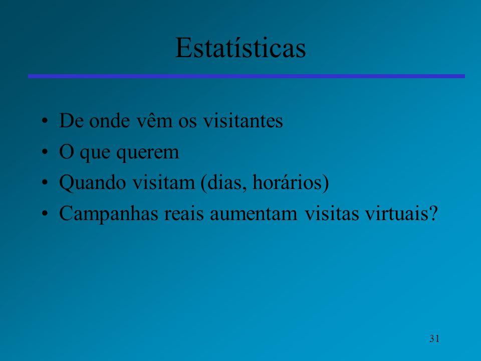 Estatísticas De onde vêm os visitantes O que querem