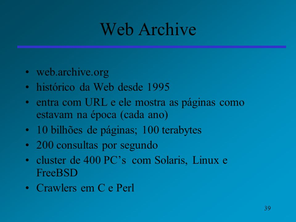 Web Archive web.archive.org histórico da Web desde 1995