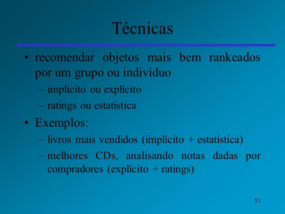 Técnicas recomendar objetos mais bem rankeados por um grupo ou indivíduo. implícito ou explícito. ratings ou estatística.