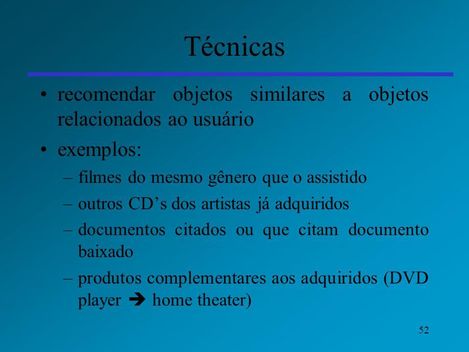 Técnicas recomendar objetos similares a objetos relacionados ao usuário. exemplos: filmes do mesmo gênero que o assistido.