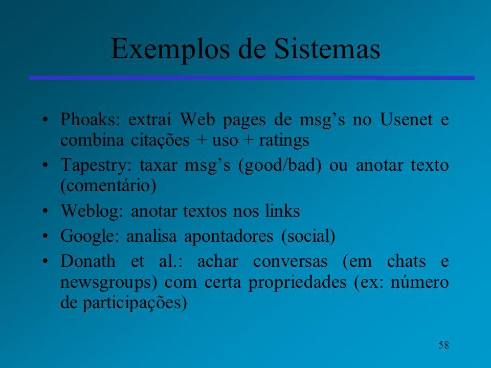 Exemplos de Sistemas Phoaks: extrai Web pages de msg's no Usenet e combina citações + uso + ratings.