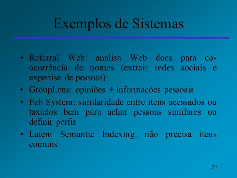 Exemplos de Sistemas Referral Web: analisa Web docs para co-ocorrência de nomes (extrair redes sociais e expertise de pessoas)