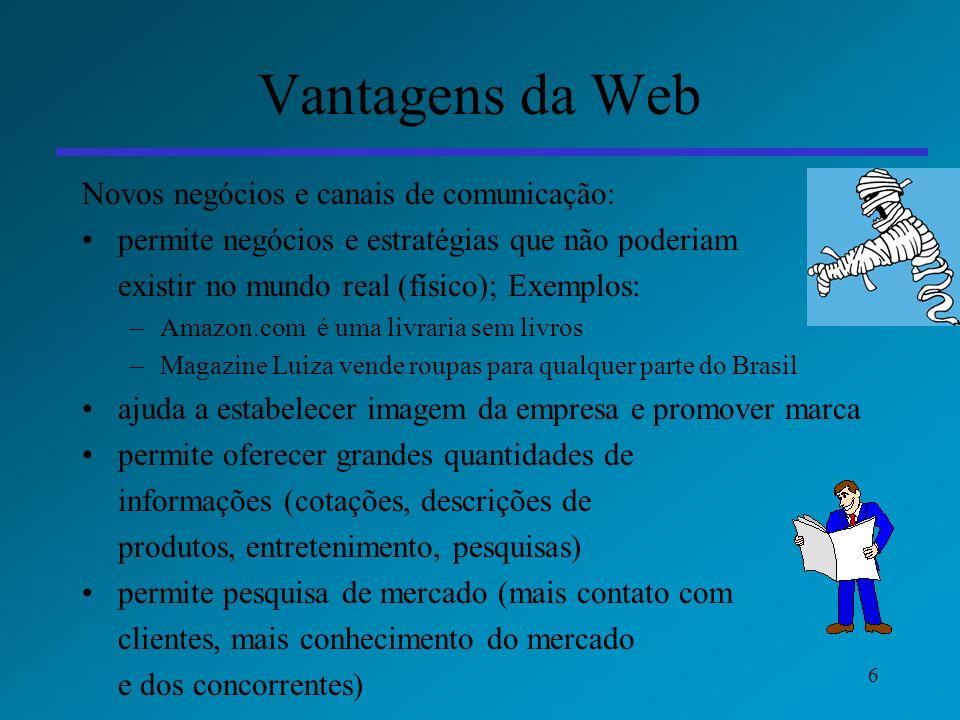 Vantagens da Web Novos negócios e canais de comunicação: