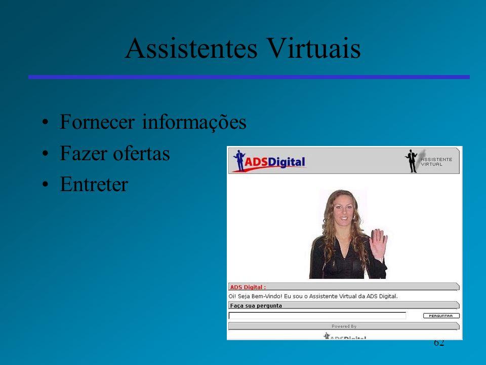 Assistentes Virtuais Fornecer informações Fazer ofertas Entreter