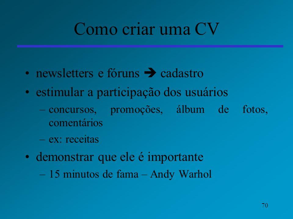 Como criar uma CV newsletters e fóruns  cadastro