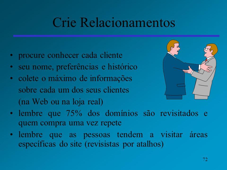 Crie Relacionamentos procure conhecer cada cliente