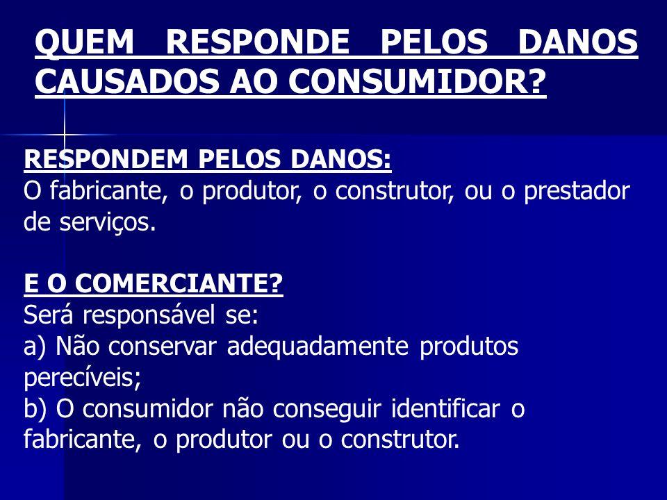 QUEM RESPONDE PELOS DANOS CAUSADOS AO CONSUMIDOR