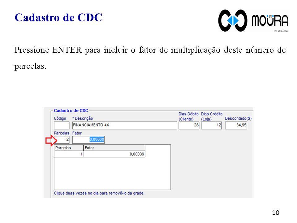 Cadastro de CDC Pressione ENTER para incluir o fator de multiplicação deste número de parcelas.