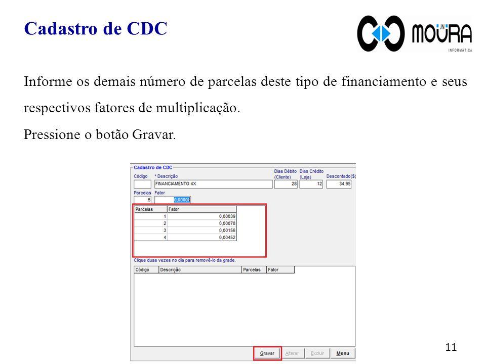 Cadastro de CDC Informe os demais número de parcelas deste tipo de financiamento e seus respectivos fatores de multiplicação.