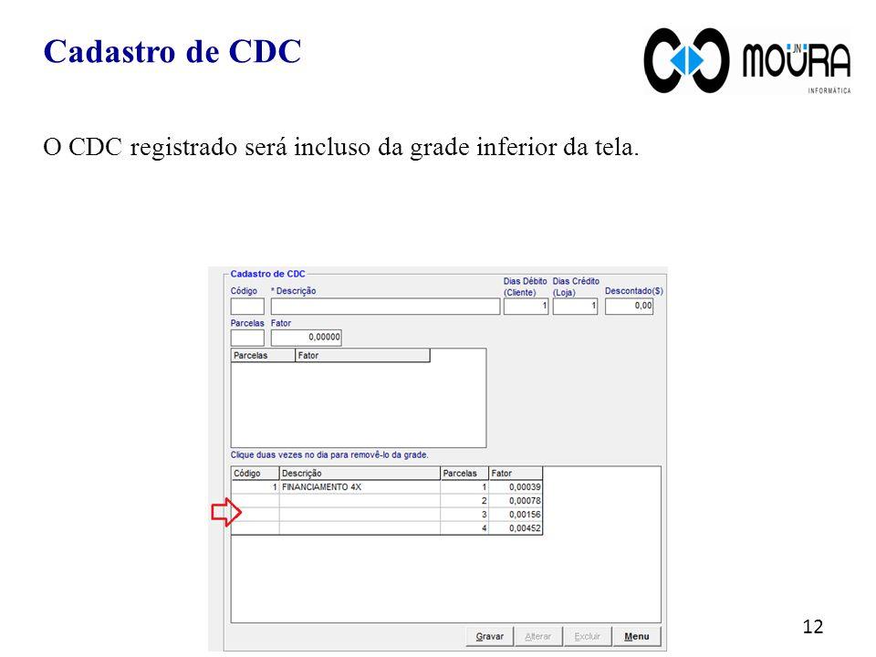 Cadastro de CDC O CDC registrado será incluso da grade inferior da tela.