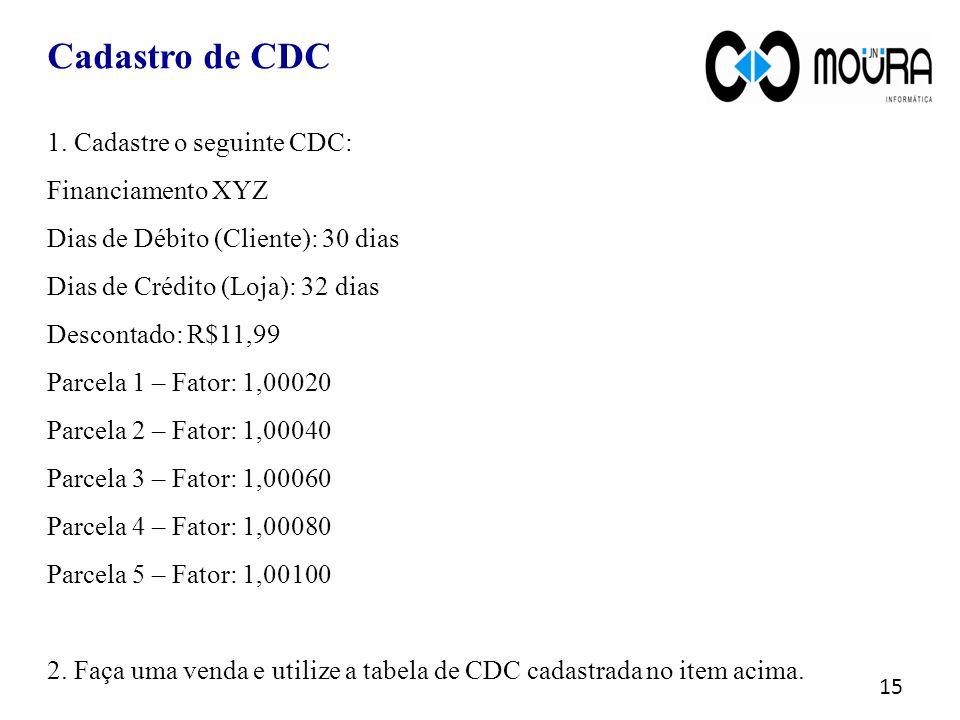 Cadastro de CDC 1. Cadastre o seguinte CDC: Financiamento XYZ
