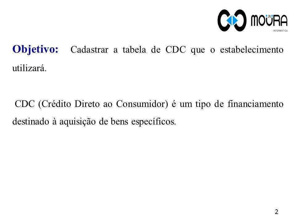 Objetivo: Cadastrar a tabela de CDC que o estabelecimento utilizará.