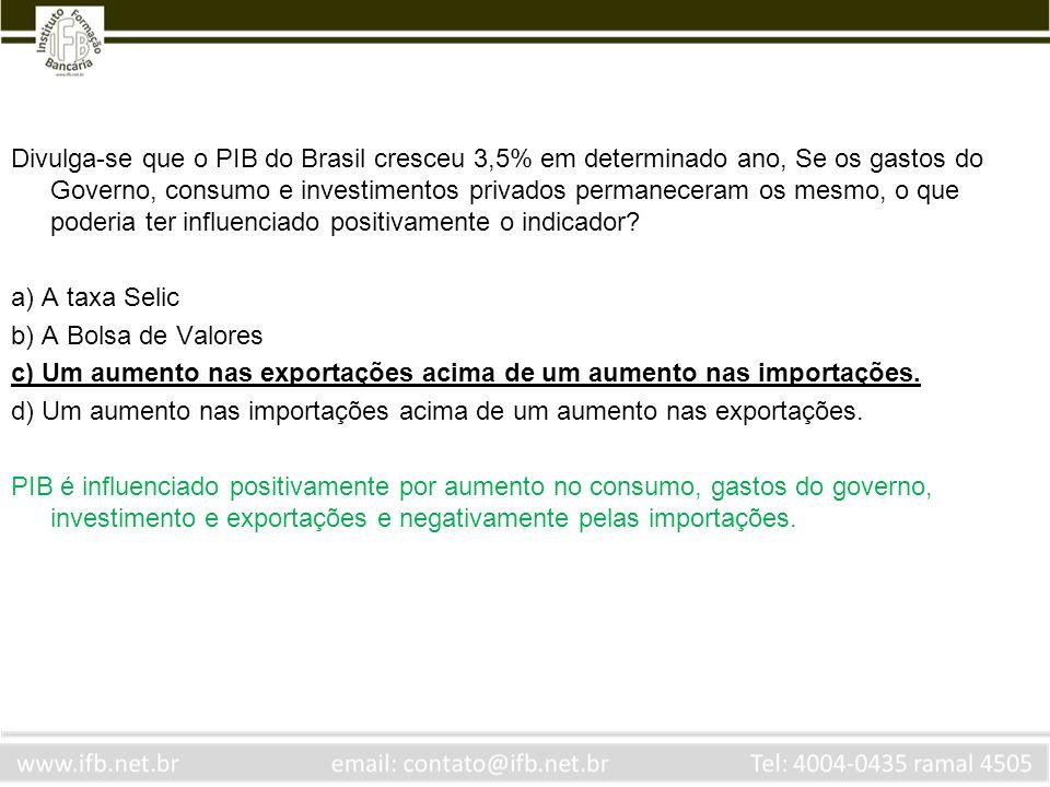 Divulga-se que o PIB do Brasil cresceu 3,5% em determinado ano, Se os gastos do Governo, consumo e investimentos privados permaneceram os mesmo, o que poderia ter influenciado positivamente o indicador