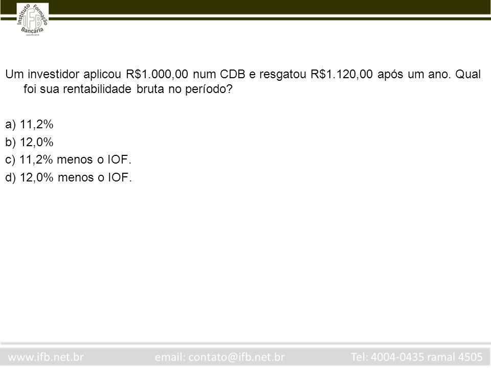 Um investidor aplicou R$1. 000,00 num CDB e resgatou R$1