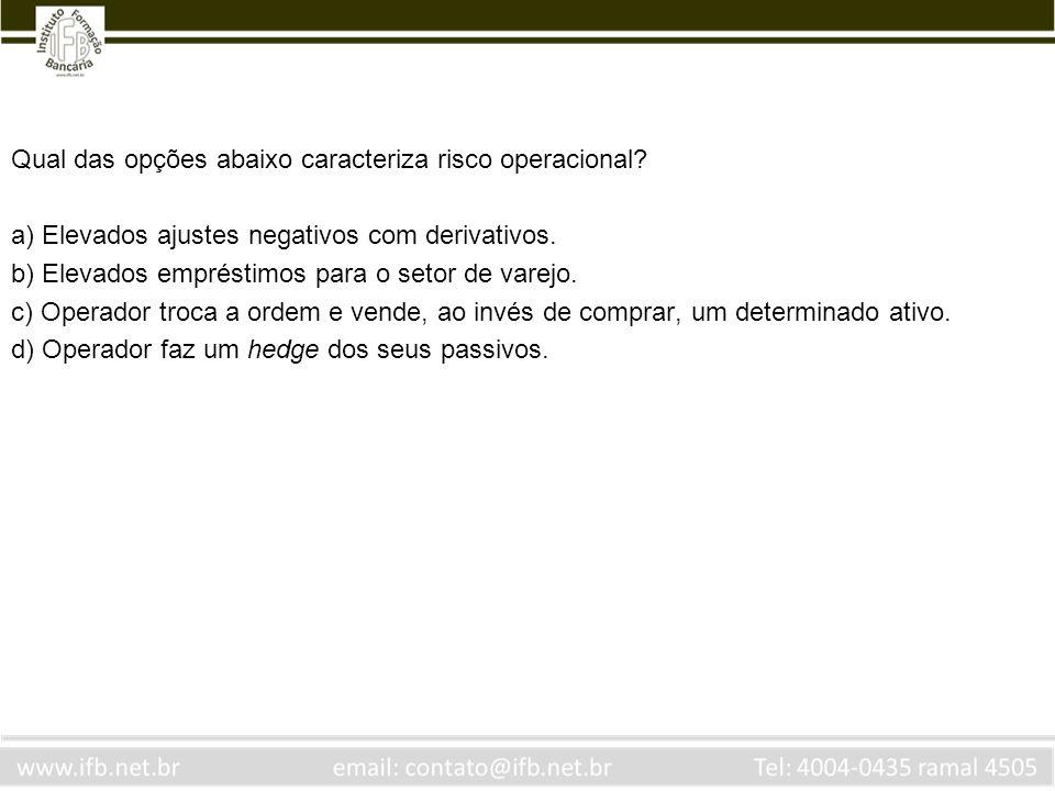 Qual das opções abaixo caracteriza risco operacional