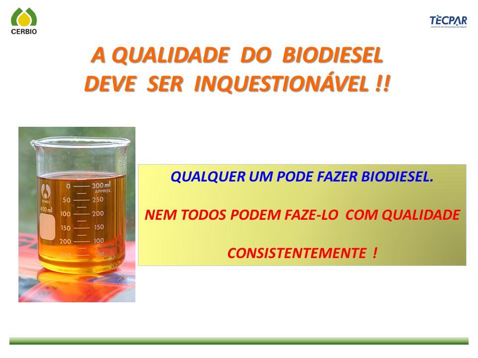 A QUALIDADE DO BIODIESEL DEVE SER INQUESTIONÁVEL !!