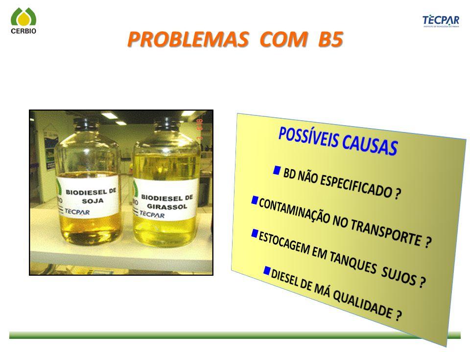 PROBLEMAS COM B5 POSSÍVEIS CAUSAS  BD NÃO ESPECIFICADO