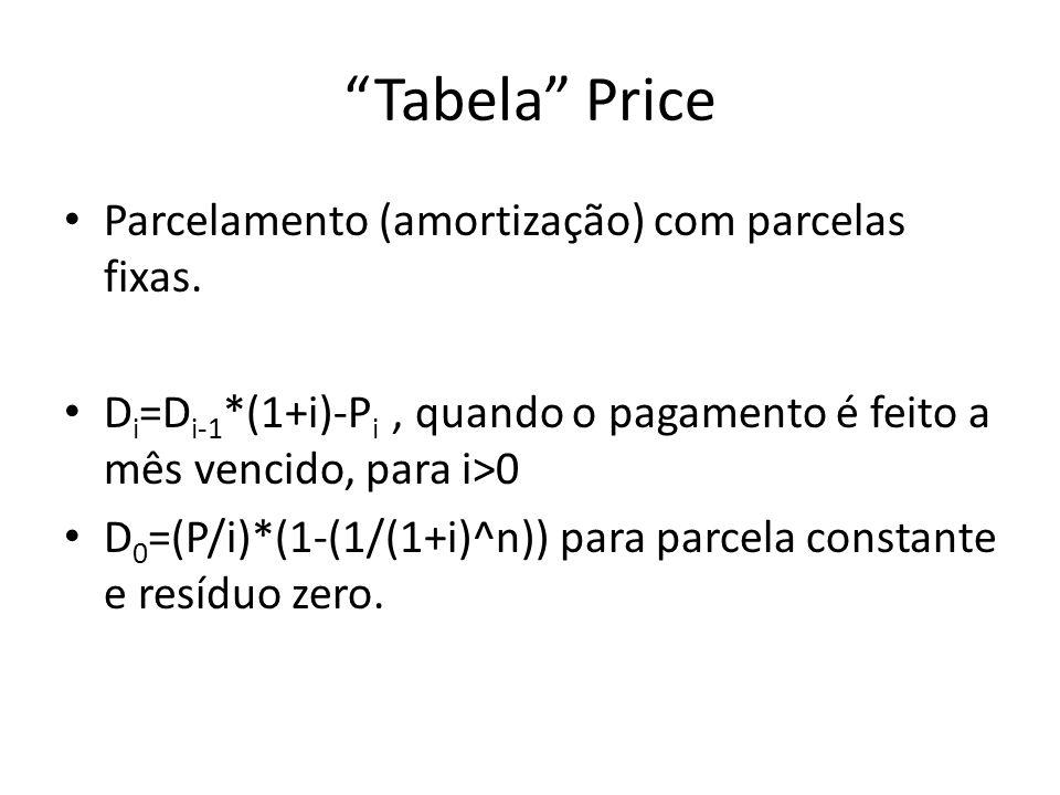 Tabela Price Parcelamento (amortização) com parcelas fixas.