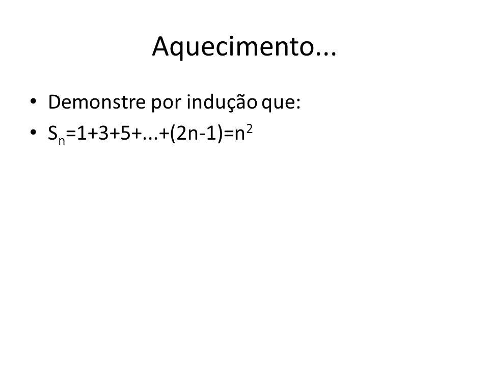 Aquecimento... Demonstre por indução que: Sn=1+3+5+...+(2n-1)=n2