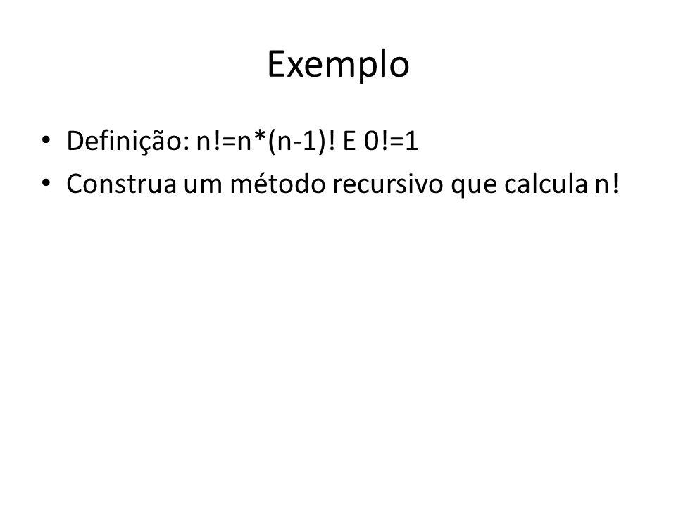 Exemplo Definição: n!=n*(n-1)! E 0!=1