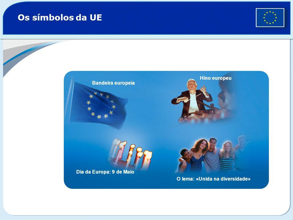 Os símbolos da UE Hino europeu Bandeira europeia