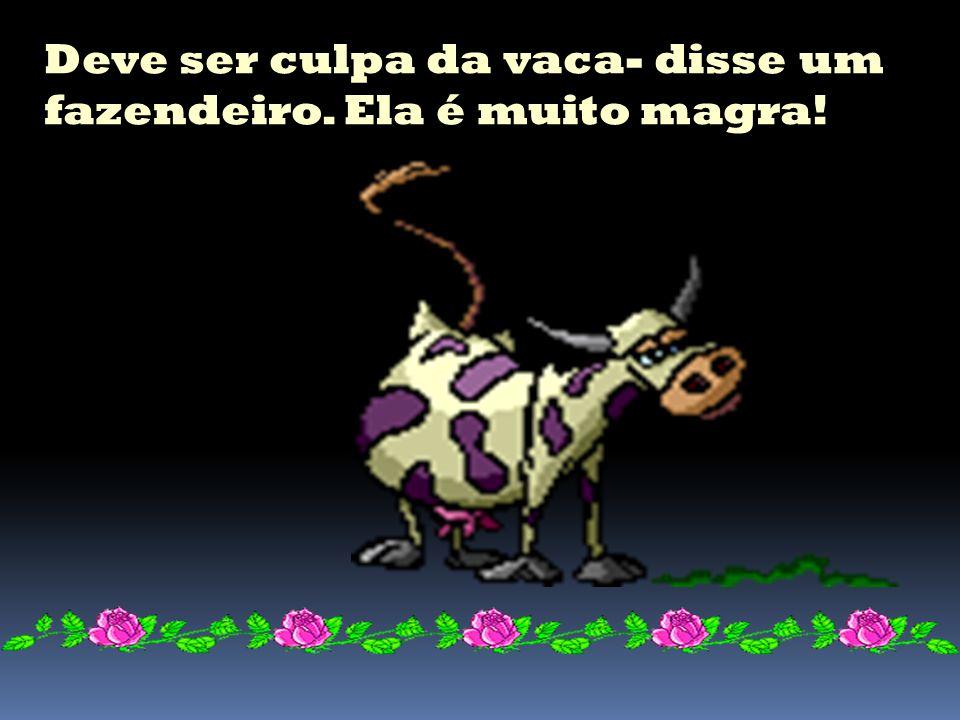 Deve ser culpa da vaca- disse um fazendeiro. Ela é muito magra!