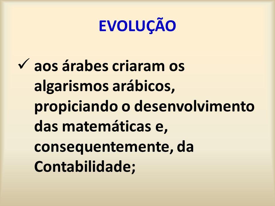 EVOLUÇÃO aos árabes criaram os algarismos arábicos, propiciando o desenvolvimento das matemáticas e, consequentemente, da Contabilidade;