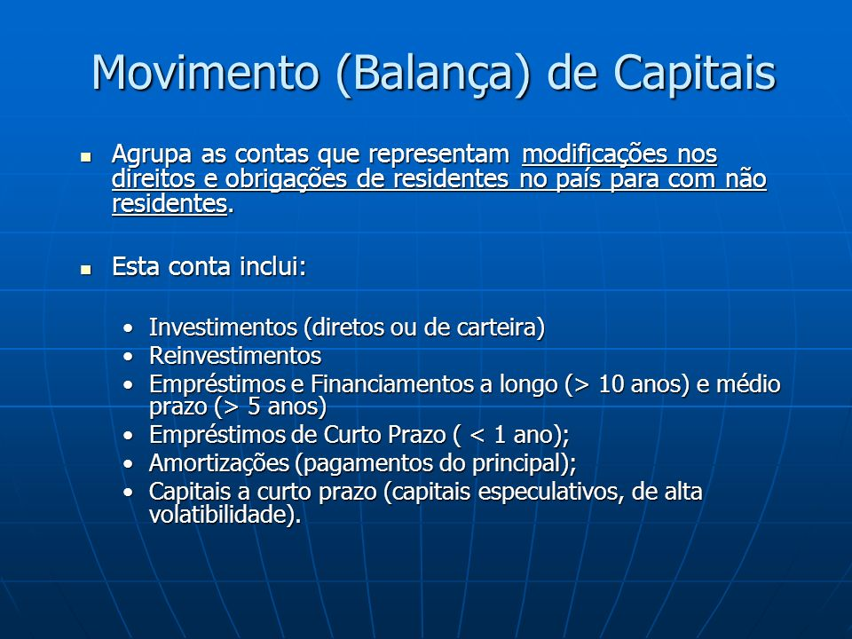 Movimento (Balança) de Capitais