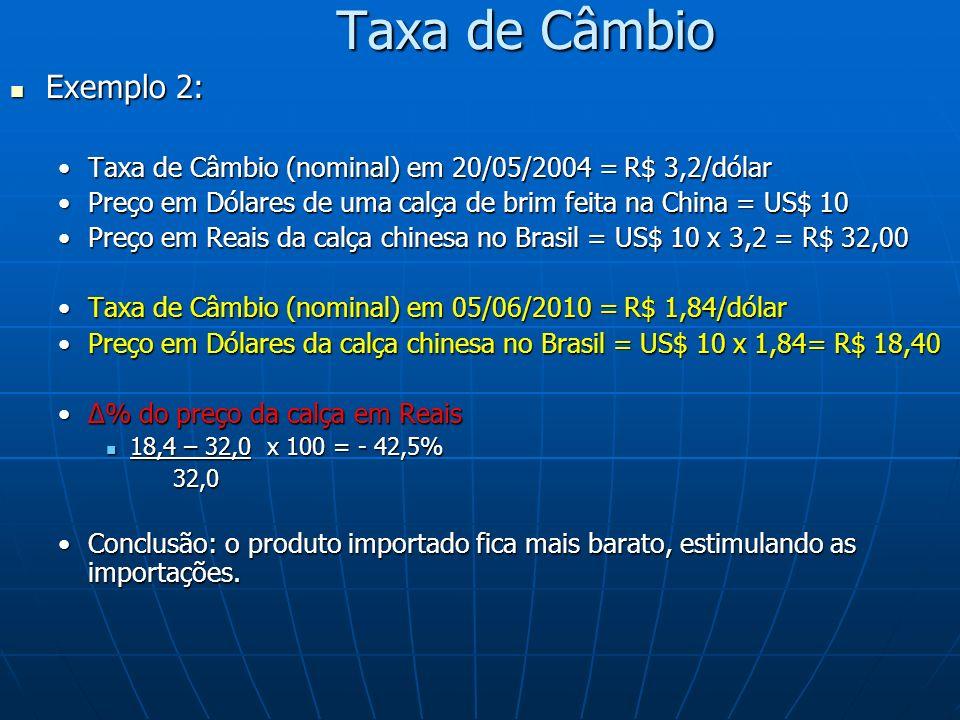Taxa de Câmbio Exemplo 2: