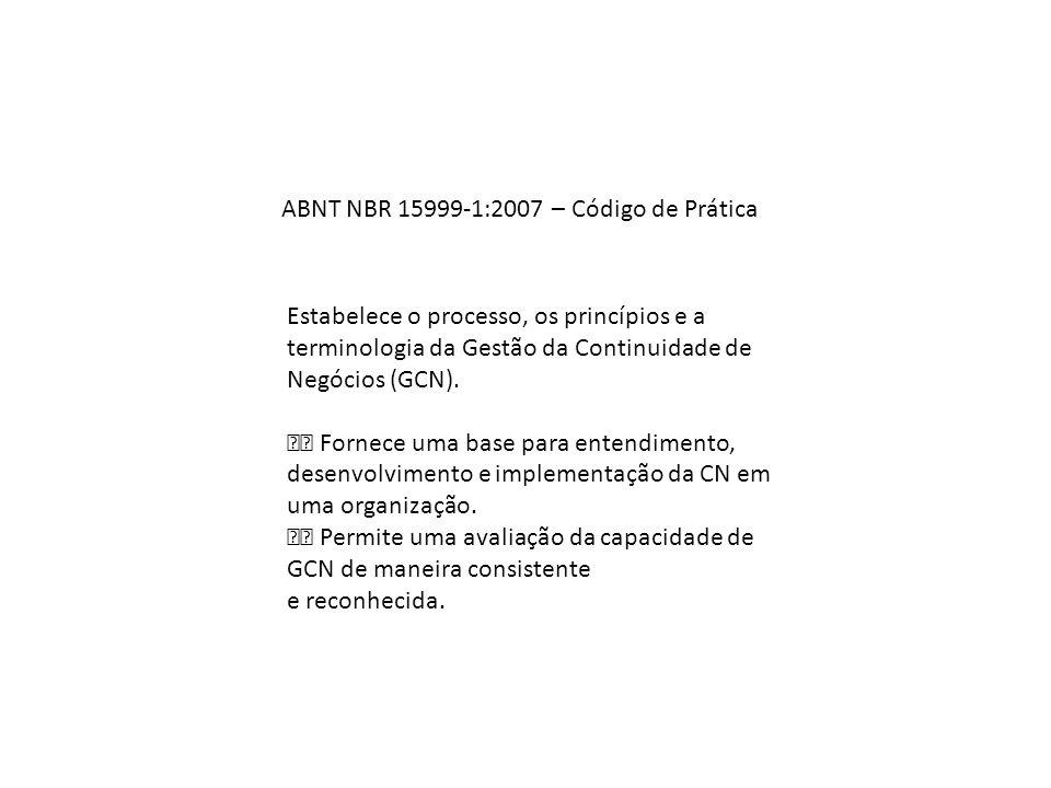 ABNT NBR 15999‐1:2007 – Código de Prática