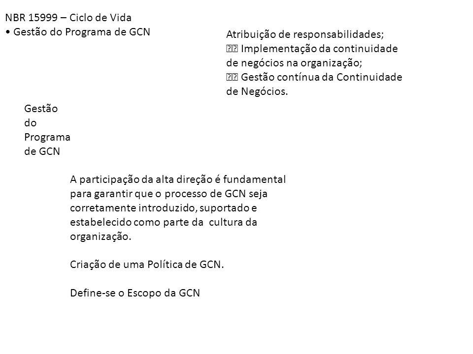 NBR 15999 – Ciclo de Vida • Gestão do Programa de GCN. Atribuição de responsabilidades;  Implementação da continuidade.