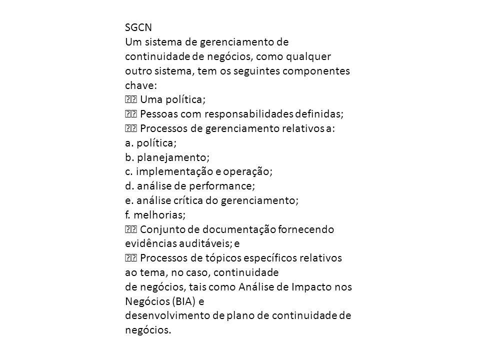 SGCN Um sistema de gerenciamento de continuidade de negócios, como qualquer. outro sistema, tem os seguintes componentes chave: