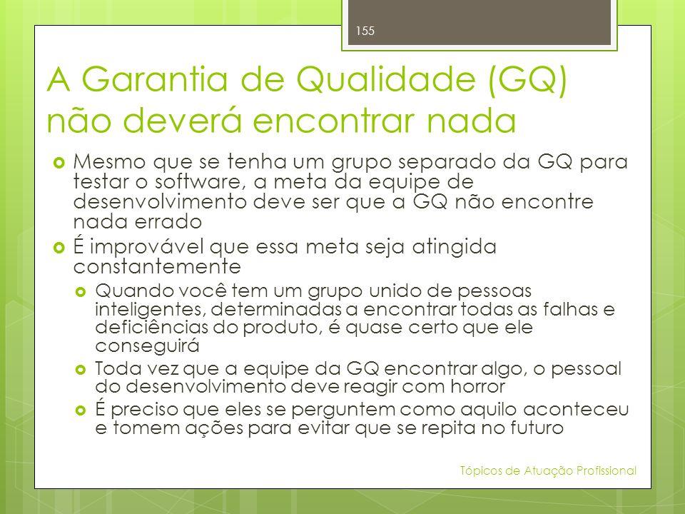 A Garantia de Qualidade (GQ) não deverá encontrar nada