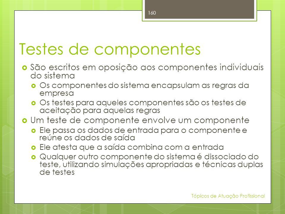 Testes de componentes São escritos em oposição aos componentes individuais do sistema. Os componentes do sistema encapsulam as regras da empresa.
