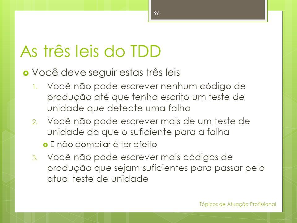 As três leis do TDD Você deve seguir estas três leis