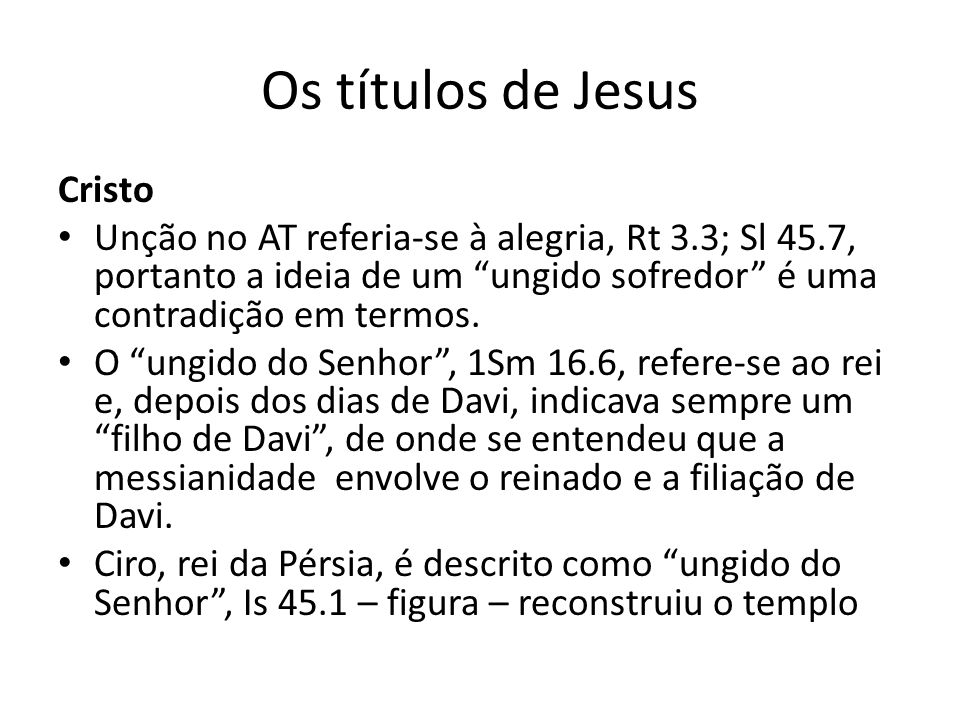 Os títulos de Jesus Cristo
