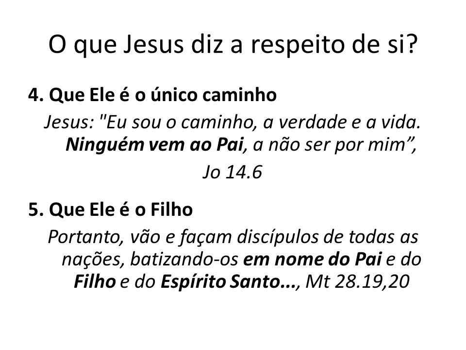 O que Jesus diz a respeito de si