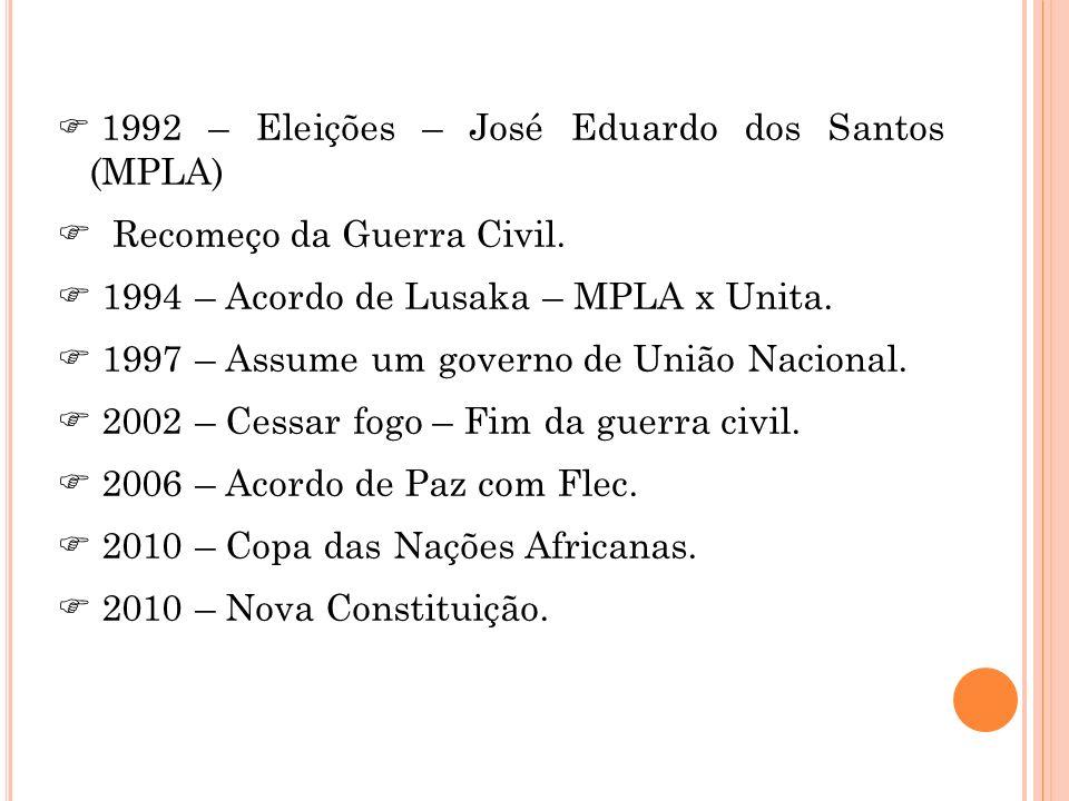 Recomeço da Guerra Civil. 1994 – Acordo de Lusaka – MPLA x Unita.