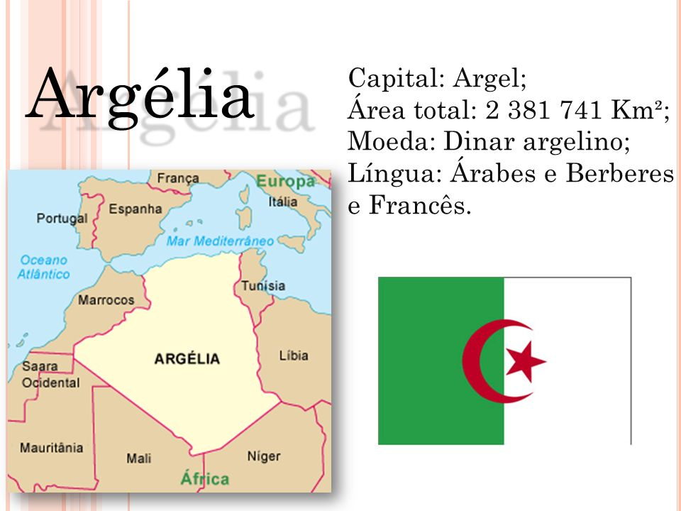 Argélia Capital: Argel; Área total: 2 381 741 Km²;